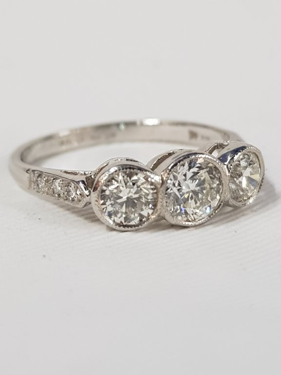 Platinum Set 3 Stone Diamond Ring - £1300