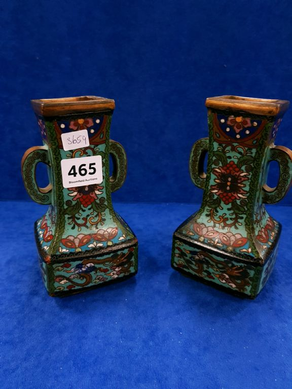 PAIR OF CLOISONNE VASES - £340
