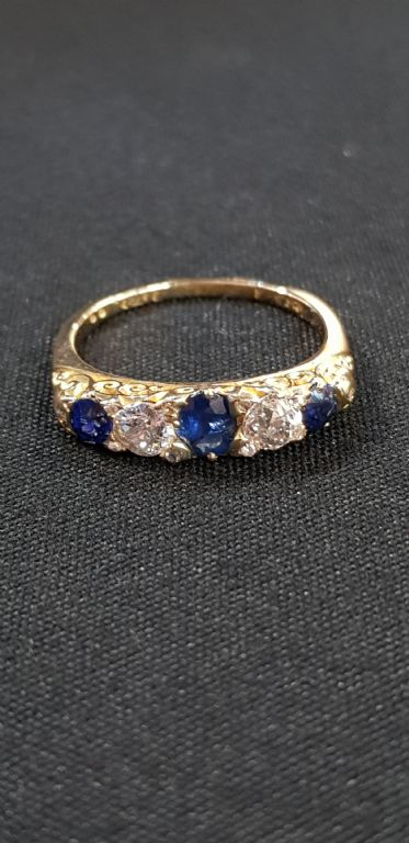 18 Carat Gold, Diamond & Sapphire Ring - £480 + Fees