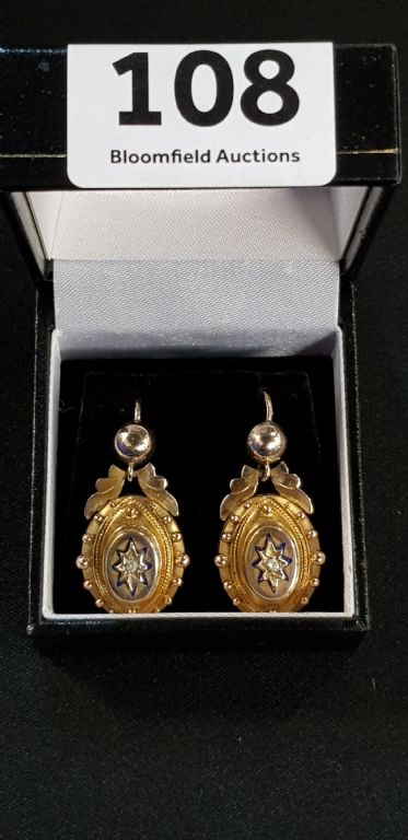 Pair of Victorian Gold Diamond Set & Enamel Earrings - £340 + Fees