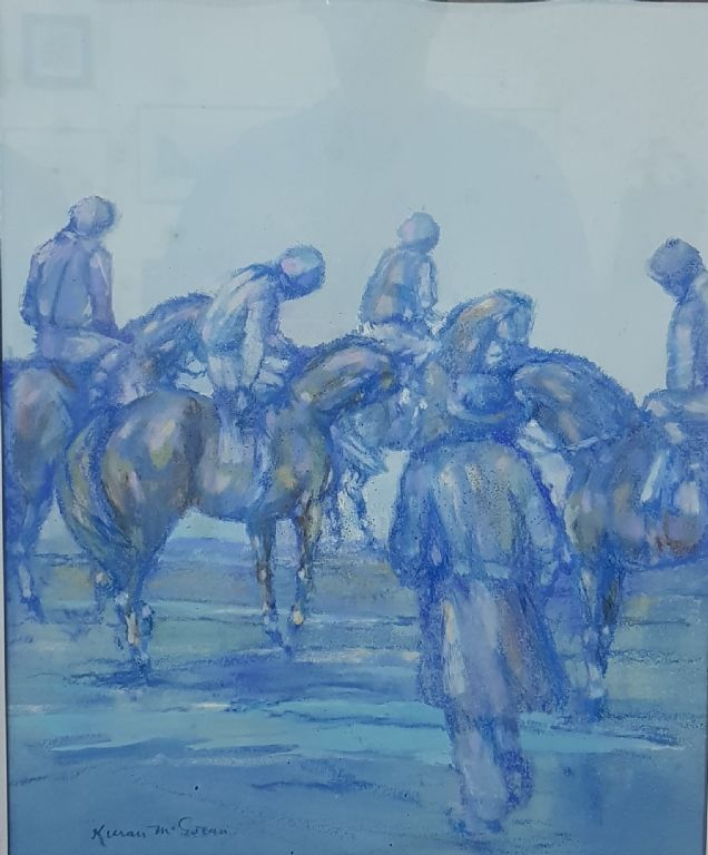 KIERAN MCGORAN - BLUE PASTEL - HORSES AT THE START - £340