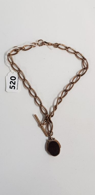 HEAVY ANTIQUE 9CT ROSE GOLD CHAIN WITH BLOODSTONE SWIVEL FOB - £725