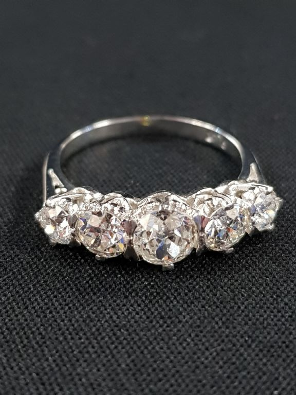 Platinum Set 5 Stone Diamond Ring - £2600 + Fees
