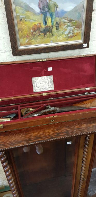CASED 19TH CENTURY 13 BORE MUZZLE LOADING SHOTGUN - £840