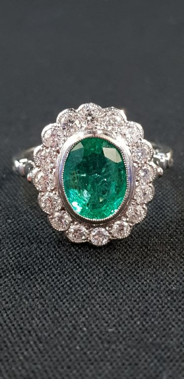 Platinum Set Emerald & Diamond Ring - £1450 + Fees