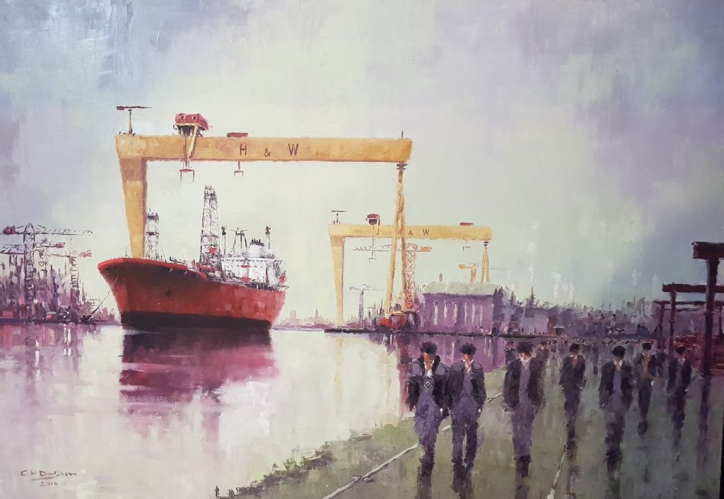 COLIN H DAVIDSON - OIL ON CANVAS - YARDMEN & SHIP - £700