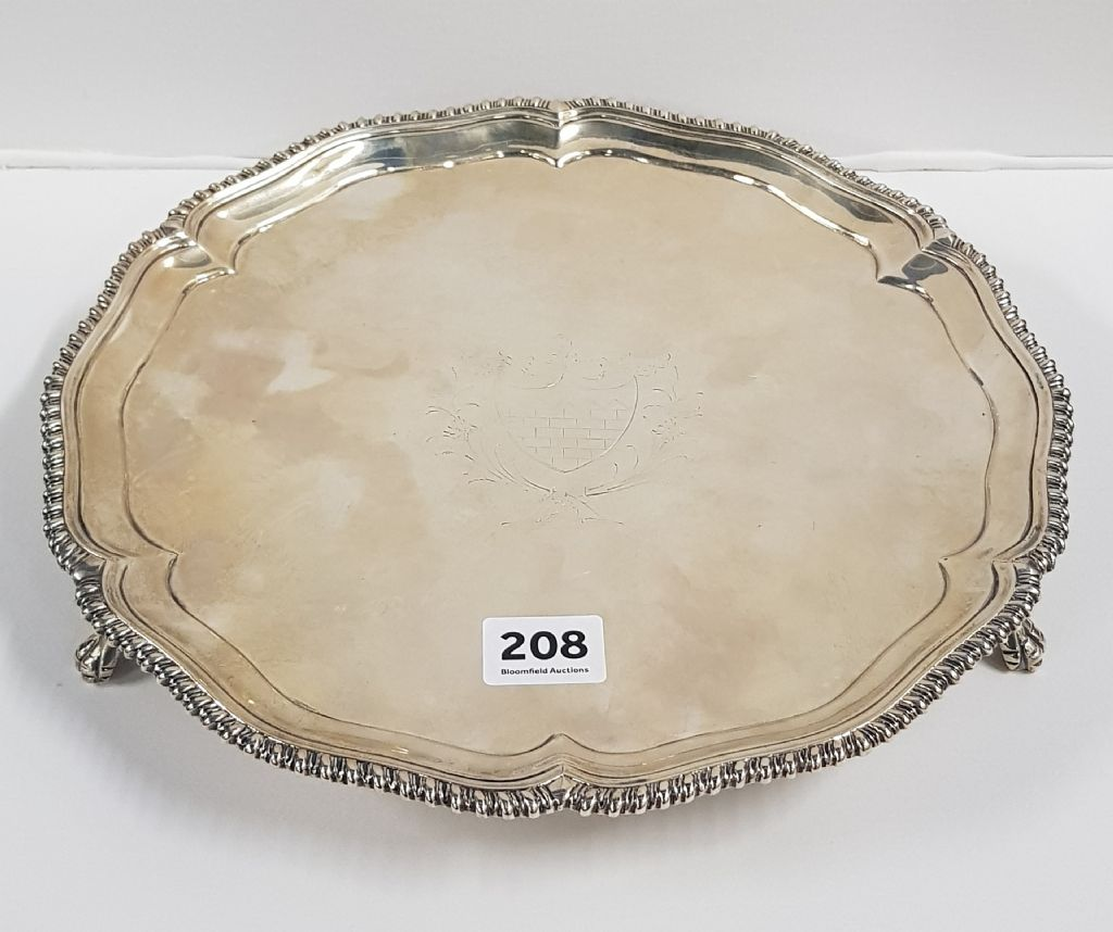 IRISH SILVER SALVER - DUBLIN 1775 - £550