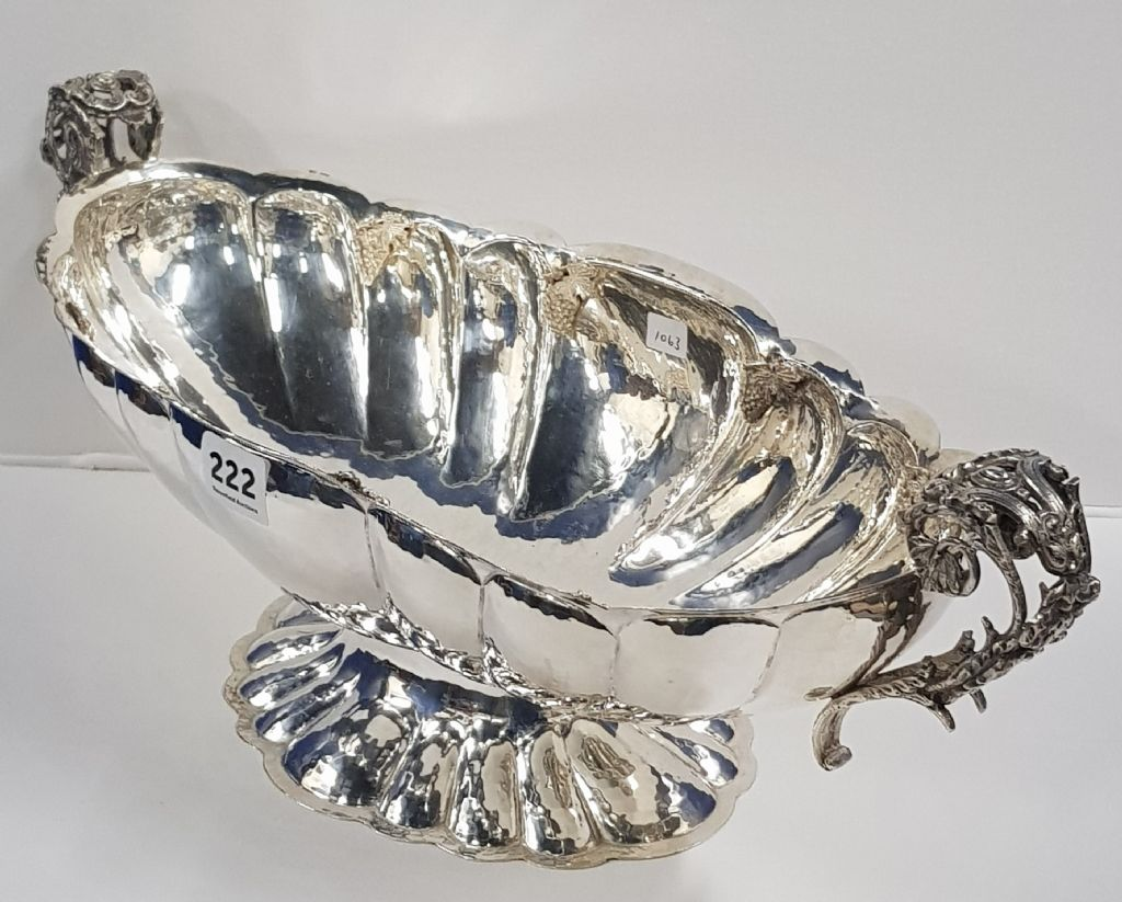 OPULENT & DECORATIVE SILVER FRUIT DISH - £460