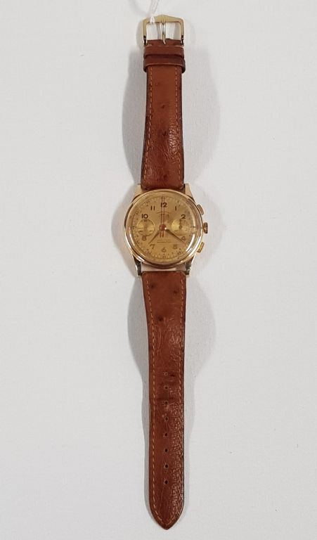 VINTAGE 18CT GOLD TELDA CHRONOGRAPHIC GENTS WATCH - £260