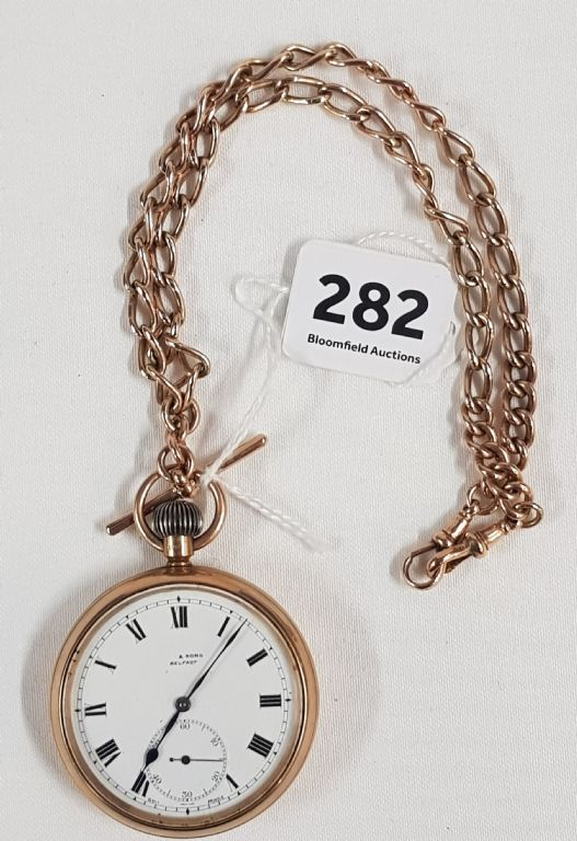 9CT GOLD OPEN FACE POCKET WATCH WITH 9 CARAT GOLD ALBERT - £800