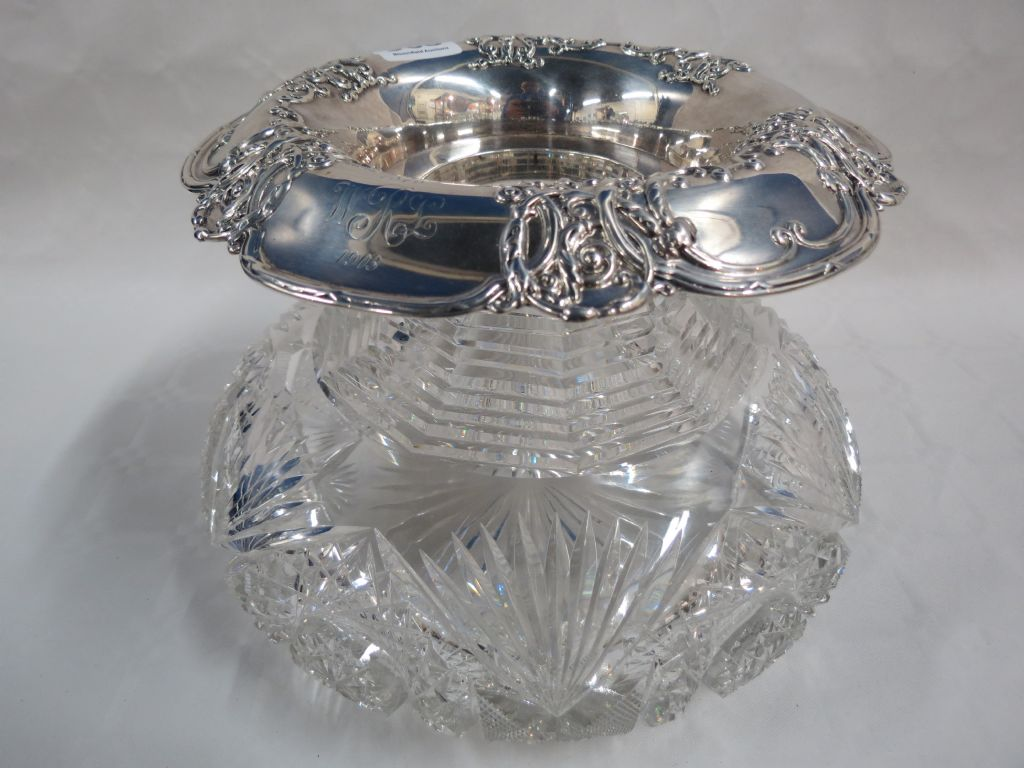 Tiffany Silver Collared & Cut Glass Rose Bowl - £170