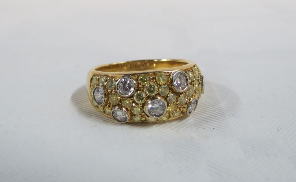 18 Carat Gold Canary Yellow & White Diamond Ring - £3500