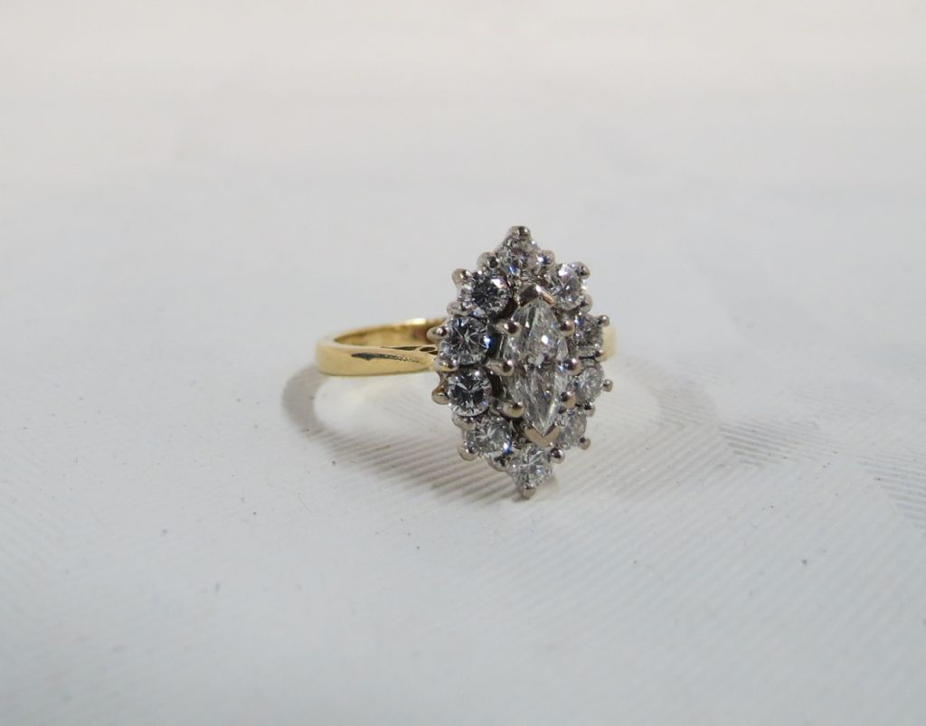 18 Carat Gold Marquise Diamond Cluster Ring - £1100