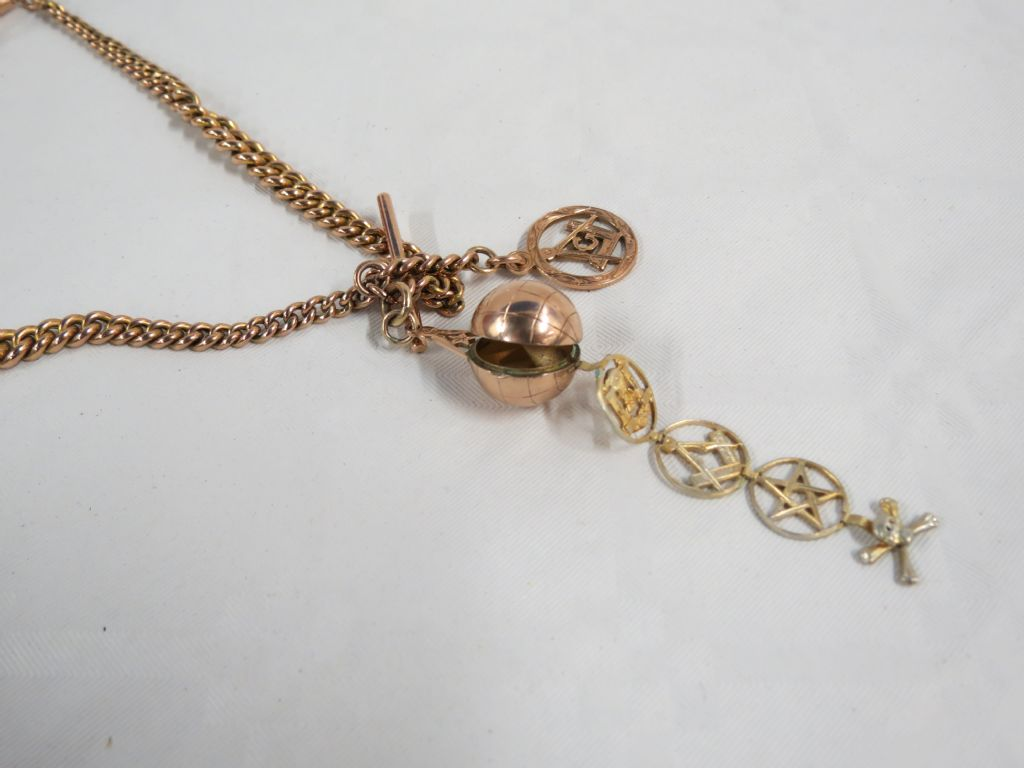 9 Carat Rose Gold Albert Chain With Masonic Pendants - £460