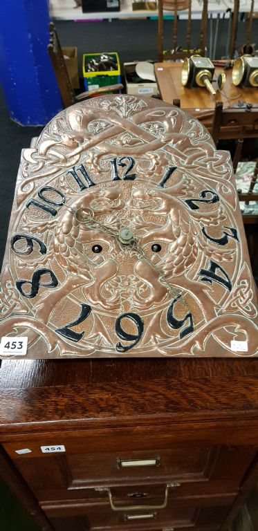 ANTIQUE ARTS & CRAFTS COPPER CLOCK DIAL & MOVEMENT - £480