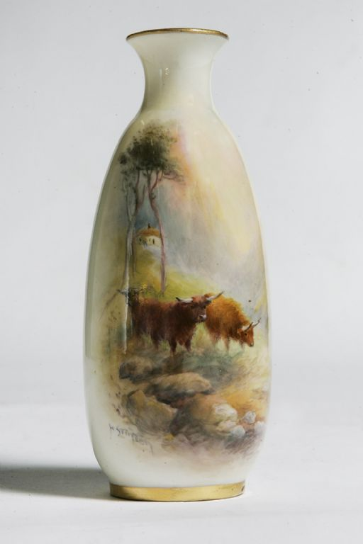 Royal Worcester Vase with Cattle signed H Stinton c1910 - £400