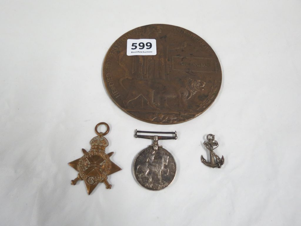 Death Penny & 2 World War 1 Medals - £240