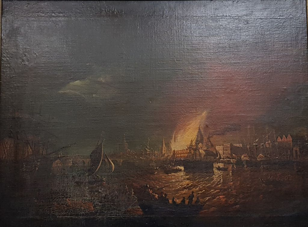 Antique Oil On Canvas - Great Fire of London - £2200 + Fees