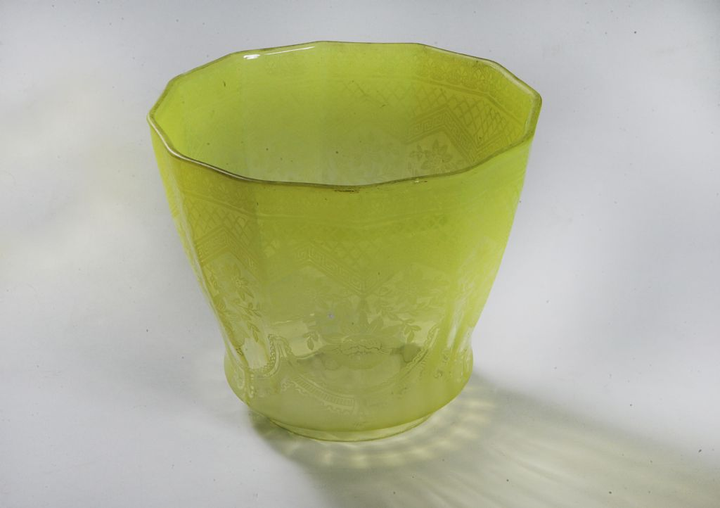 Antique Lime Green Glass Oil Lamp Shade With A Hint of Vaseline - £200