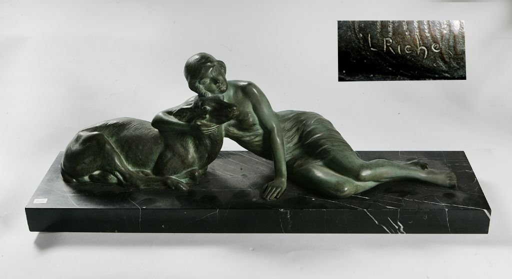 Art Deco Bronze Girl Lying With Greyhound Signed L.Riche - £300