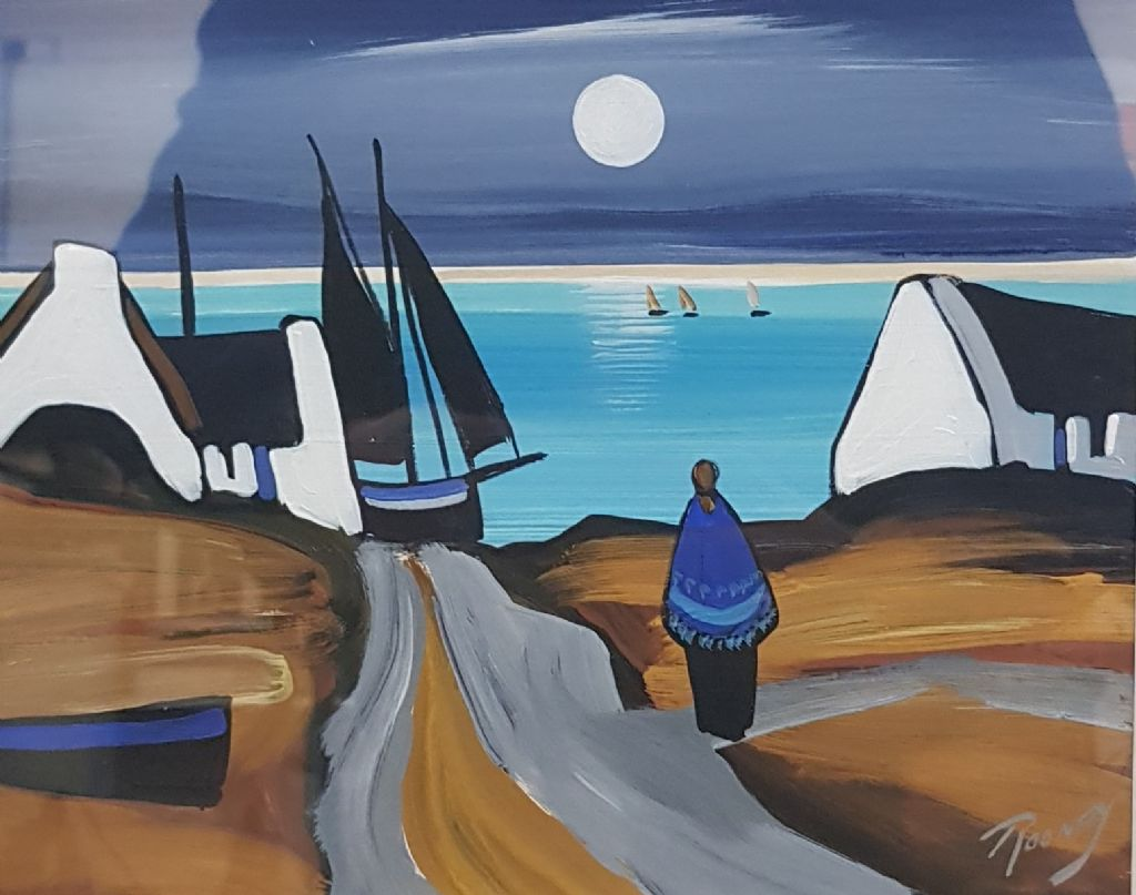 J P ROONEY - OIL - MOONLIGHT BLUE - £240