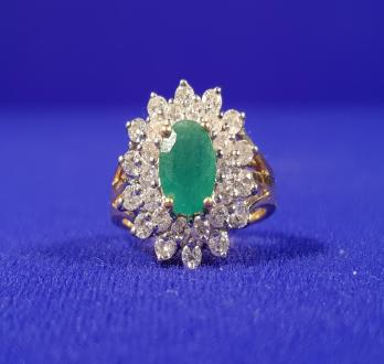 18ct Gold Emerald & Diamond Cluster Ring - SOLD £1,000
